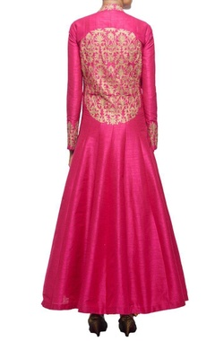 raani pink embroidered jacket with orange inner