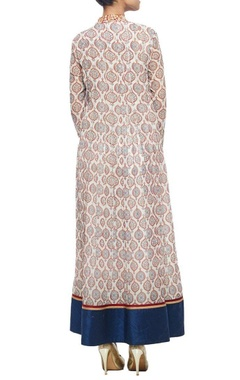 Off white motif printed kurta with navy blue churidar & dupatta
