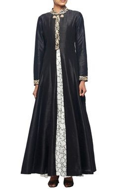 Black raw silk embroidered jacket with white printed georgette inner