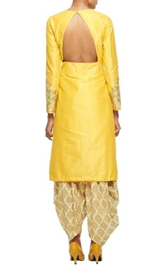 Yellow embroidered kurta with overlapping hemline & printed patiala
