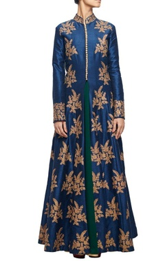 Midnight blue embroidered jacket with an emerald green inner