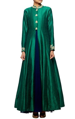 emerald green embroidered jacket with navy blue inner