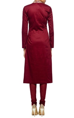 Maroon embroidered kurta set