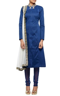 Midnight blue A-line kurta with net churidar & dupatta