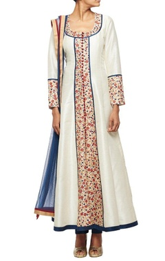 Off white embroidered anarkali & navy blue churidar & matching dupatta