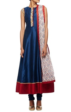 Midnight blue embrodiered anarkali set with matching churidar & printed dupatta