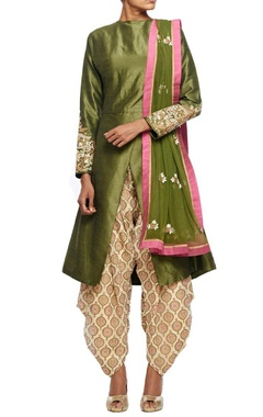 Olive green embroidered kurta with overlapping hemline & printed patiala