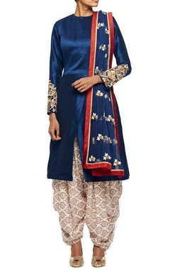 Midnight blue embroidered kurta with overlapping hemline & printed patiala