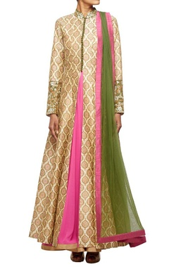beige motif printed jacket with a georgette inner and net dupatta
