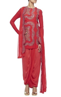 Red embroidered kurta with wrap skirt & embroidered dupatta