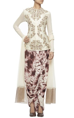 Off white embroidered jacket with tie and dye wrap skirt & net dupatta