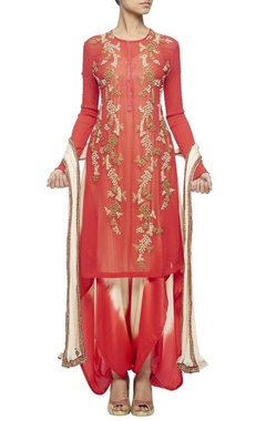 Scarlett red embroidered kurta set with a tie & dye jumpsuit & crinkled dupatta