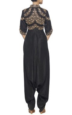 black jaal and pearl embroidered dhoti jumpsuit