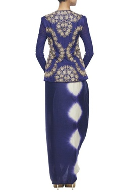 midnight blue jaal jacket with wrap skirt & embroidered dupatta