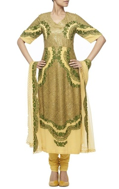 Yellow kurta set with olive green embroidery