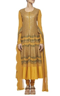 Mustard yellow sequinned embroidered anarkali set
