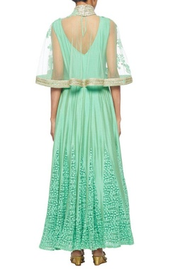 Mint green anarkali with an embroidered cape