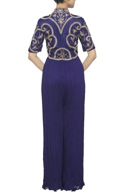 Midnight blue gathered jumpsuit with gold embroidery