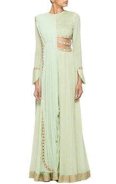 Mint green jumpsuit with pleated draped dupatta