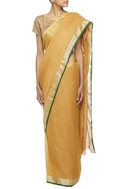 ochre woven linen sari