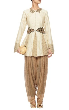 ivory embroidered kalidaar kurta with copper dhoti pants