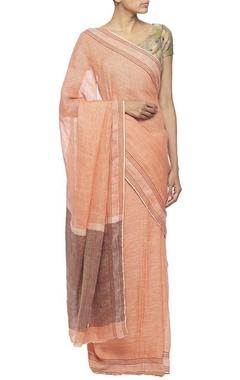 Light coral linen sari