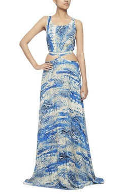 white and blue snakeskin printed maxi dress