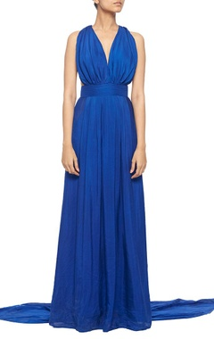 Royal blue halter gown