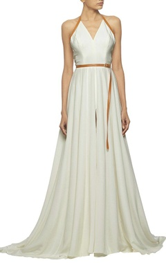 White gown with deep V-neck & tan leather detailing