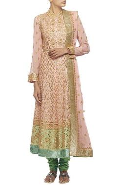 Pale pink gota embroidered kalidar kurta set