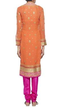 Orange gota embroidered kurta set