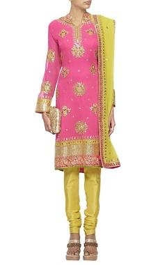 Raani pink and lime green embroidered kurta set