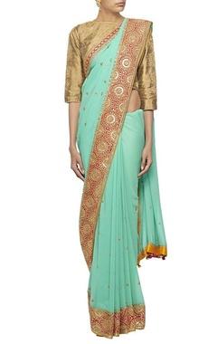 Blue gota embroidered sari