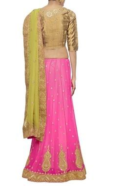 Leaf green and pink embroidered lehenga sari