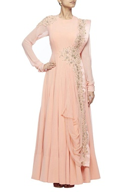 rose pink floral embroidered anarkali