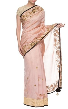 Baby pink & black embroidered sari