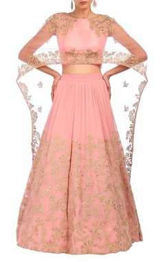 Aneesh Agarwaal Baby pink embroidered cape lehenga set