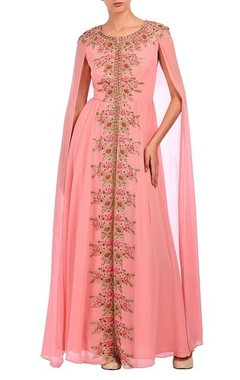 Aneesh Agarwaal Baby pink floral embroidered cape dress