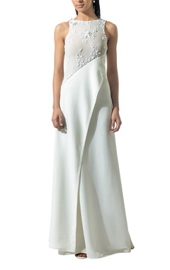 ivory draped beaded gown