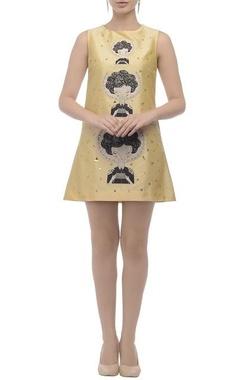 Beige embellished sleeveless dress