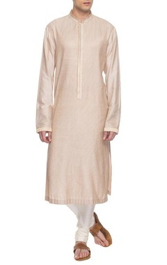 Beige embroidered kurta set with kasab embroidery