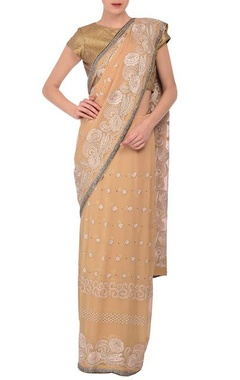 MEHRAAB Beige sequin embroidered sari