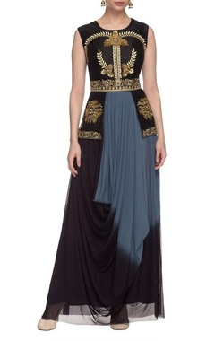 Black & blue shaded dress with attached jacket