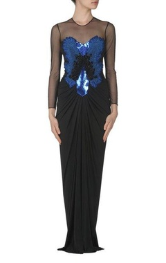 Black faux metal embellished maxi gown
