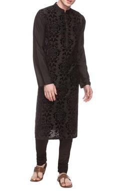 Black kurta with applique work