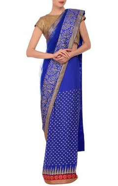 MEHRAAB Blue embroidered sari with brocade blouse