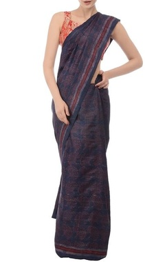Blue & marsala printed tussar silk sari