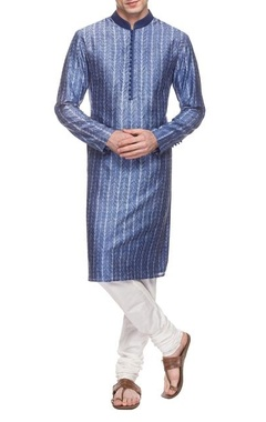 Blue & white printed kurta set