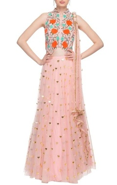 Blush pink heart embellished lehenga set