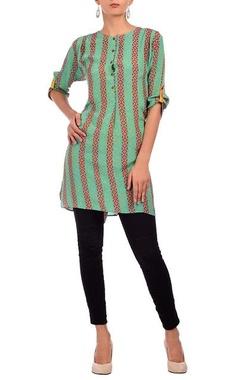 bright green & red geometric printed tunic